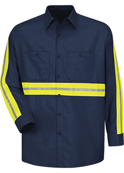 Enhanced Visibility Industrial Work Shirt (LS, Red Kap)