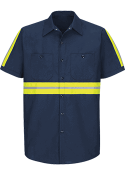 Enhanced Visibility Industrial Work Shirt (SS, Red Kap)