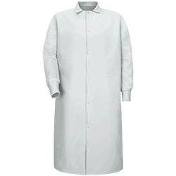 Pocketless Butcher Coat With Knit Cuffs